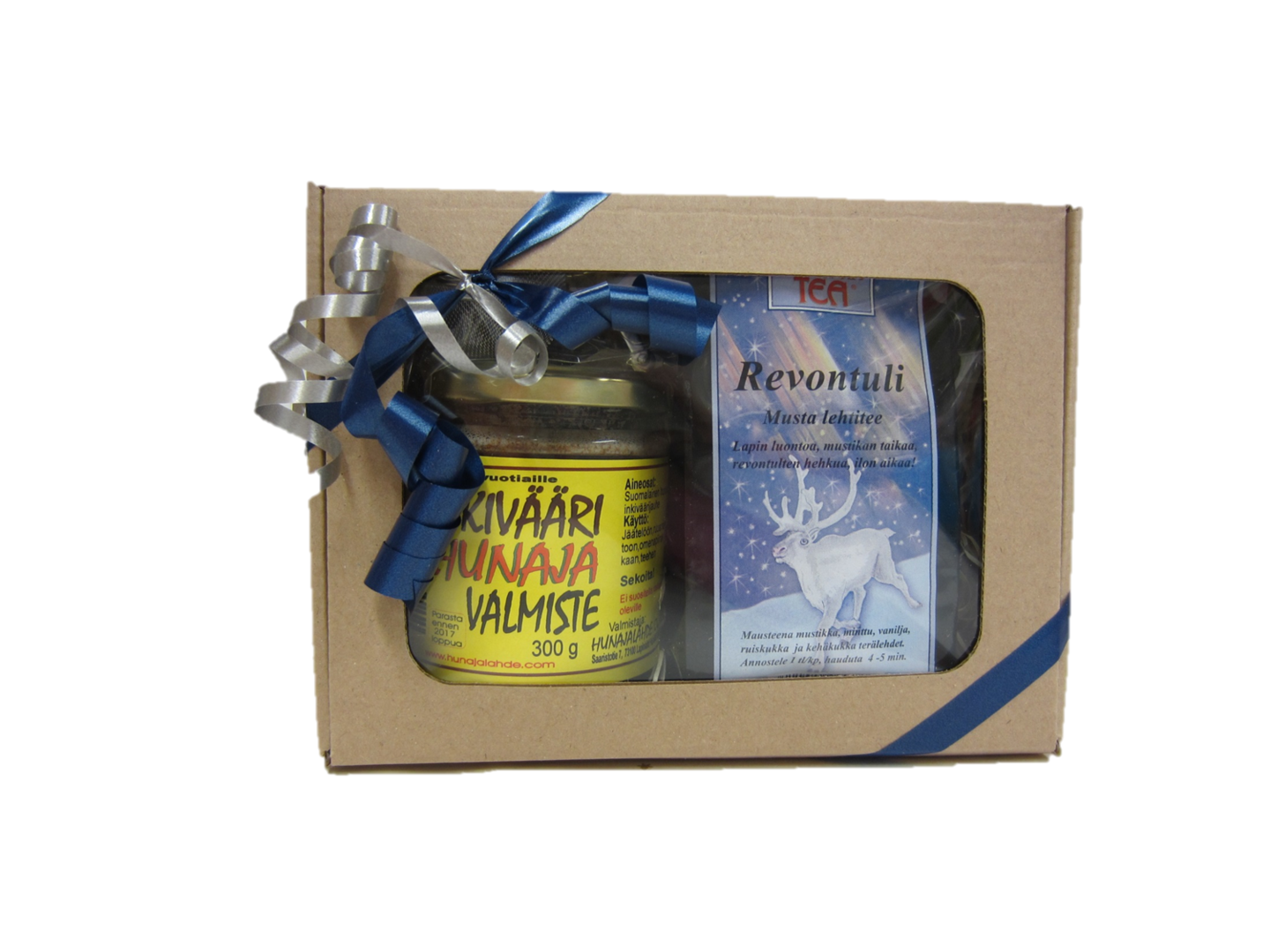 Gift Set flavoured honey 300g, tea and tea strainer